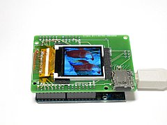 Arduino + Color LCD Shield  ZY-FGD1442701V1 横から見た図